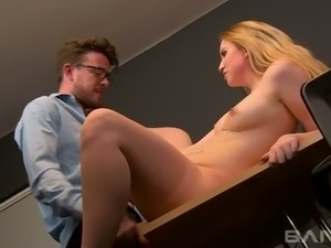 Four eyed kinky teacher presents hard fuck lesson to spoiled blond haired...