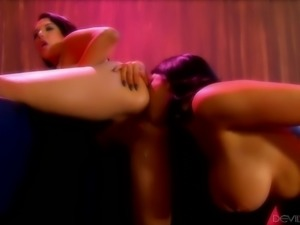 Filthy women eating out each other in a club