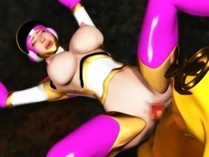 hot threesome between cartoon power rangers
