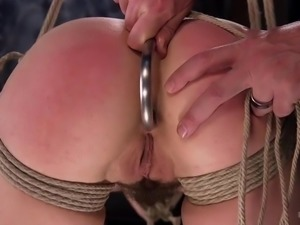 bound slave has every hole stuffed