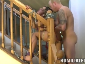 Masked slaved blonde in bondage yelling while her pussy is drilled hardcore...