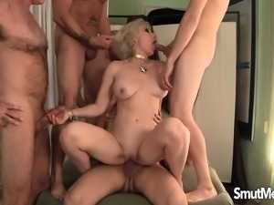 Insatiable mature lady takes on a gang of dicks and gets facialized