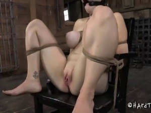 Sexy slave juicy pussy refined with multiple toys in BDSM