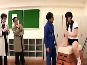 Cute schoolgirl has a test monitored by two doctors and get