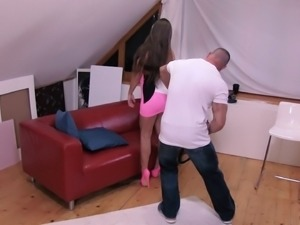 Babe in pink heels is ready to seduce a handsome stallion for a fuck