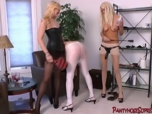 Femdom blonde Mistress with long legs sensuous domination
