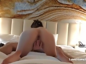 Brunette horny babe with awesome body getting fucked and creampied