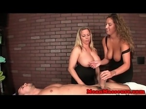 Busty femdom masseuses toying cock with CBT