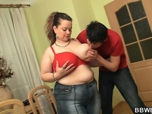 Nasty fatty fuck with horny guy on the floor