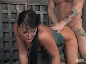 Brunette woman ravished hardcore by her pussy craving masters