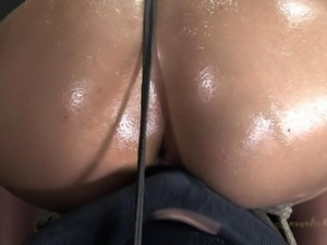 Thick redhead getting deepthroated in the old sex dungeon