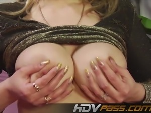 Blonde milf with huge boobs licking his ass