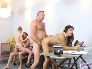 A couple of horny studs fuck duo of spoiled secretaries in the office tough