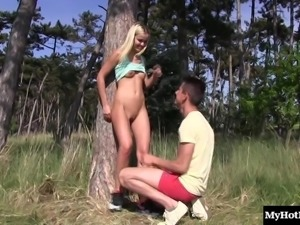 Girl gets naked with a hunk in a forest for a fuck