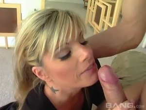 Busty blonde Kristal Summers sucking one dick on another