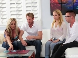 Swinger couples play erotic sex games in this enticing foursome