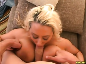 Tattooed Melodie with giant breasts and hairless bush