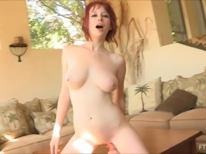 Zoey destroys her pussy with an oversized dildo in hardcore solo