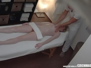 european babe gets a sensual massage and a hard fucking