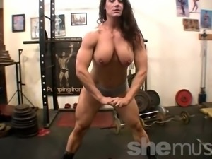 Muscular Andrea G Naked Workout in the Gym