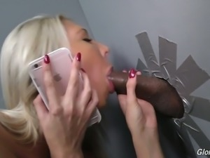 Magnificenent hot blonde babe in the sex shop visit gloryhole