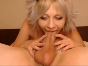 Blond babe sucking big cock and fucked in the ass creampie