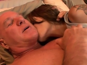 Young cutie gives old man a massage before they fuck