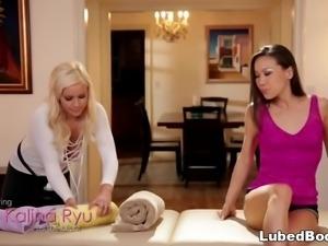Sexy lesbian massage with Kalina Ryu and Kylie Page