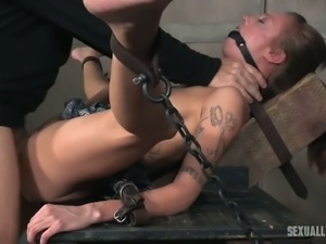 Auburn haired white sexy girl gagged and chained for BDSM pounding