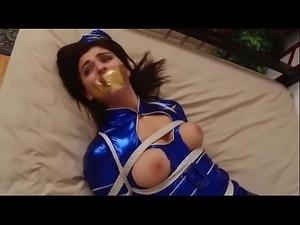 Nanuka Gurgenidze tied up in stewardess uniform and stocking