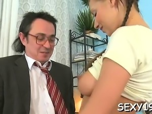 Vicious doggystyle pounding from lewd aged teacher