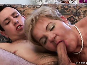 Redhead whore with huge breasts tries her hardest to make horny fuck buddy...