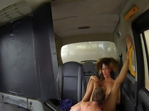 Busty british taxi driver fucked on backseat