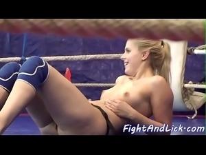 Lesbian beauties wrestling on the floor