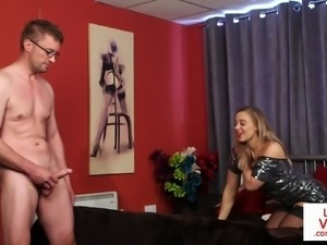 Busty british voyeur instructing guy with joi