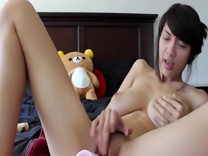 Busty Asian Teen Pounds Pussy Dildo
