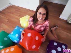 Petite brunette teen Brooke Bliss fucked by a long cock