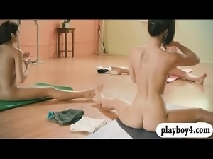 Pretty babes hot yoga session while nude