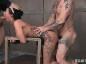 naughty slave is coughing up spit after a face fucking