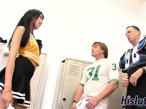 Hot threesome session with a cute cheerleader
