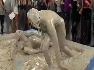 Lesbo Sheila Cooper mudwrestles with eurobabe