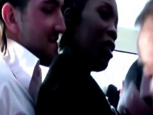 Black babe gets juicy cumshots after gang bang