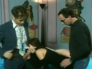 Two dudes drill hard sex appeal prostitute from Prague