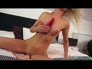 Smalltits slut fuck dildo