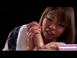 18 Year old Japanese schoolgirl gives a tender handjob