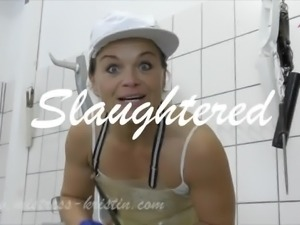 Pig Play in the Slaughter House female Butcher Kristin