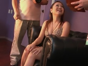 Brunette bitch gets her clit teased by a group of horny guys
