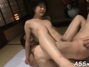 Double penetration for oriental during wild arse slam