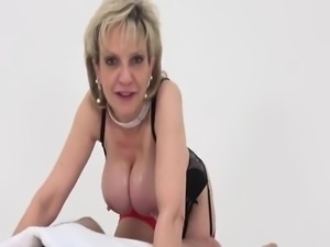 British MILF Oils Up Her Big Tits