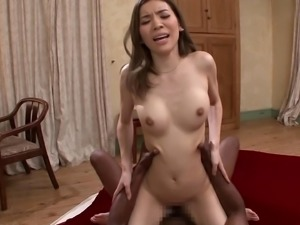 Feeling a BBC for the first time makes an Asian hottie moan in ecstasy